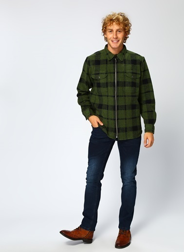 Lee&Wrangler Lee & Wrangler L67Lvrke Wool Zip Overshirt Gömlek Yeşil